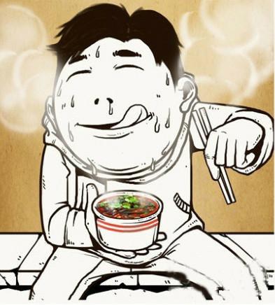手绘大熊猫吃串串